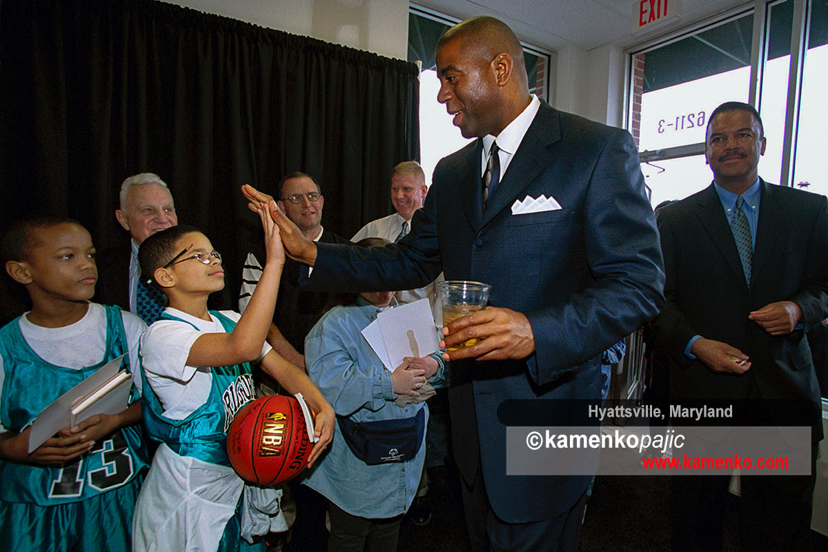 NBA great, Earvin Magic Johnson greeting Hayattsville Elementary students