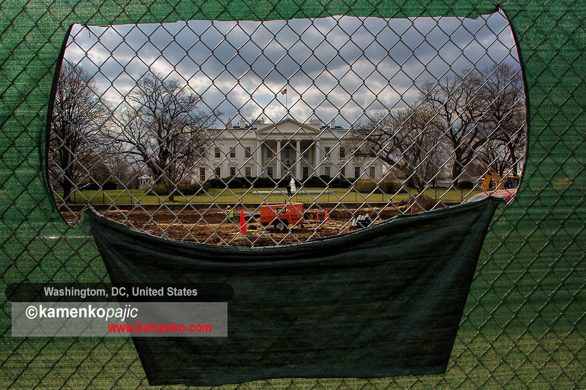 White House seen trough a fence