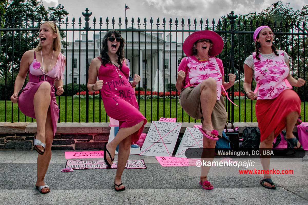 Members of CODEPINK protest in front of the White House