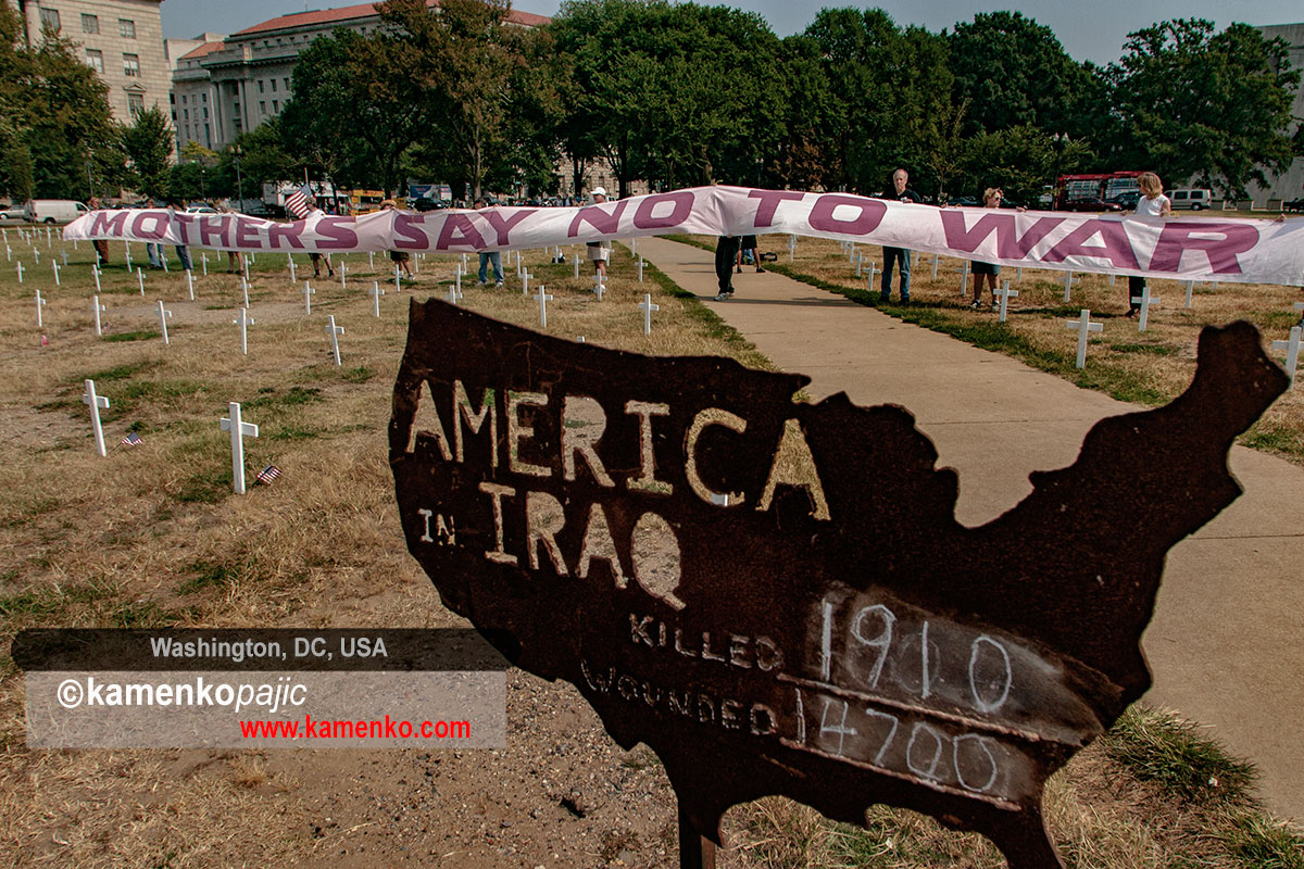 A makeshift cemetery representing soldiers killed in Iraq