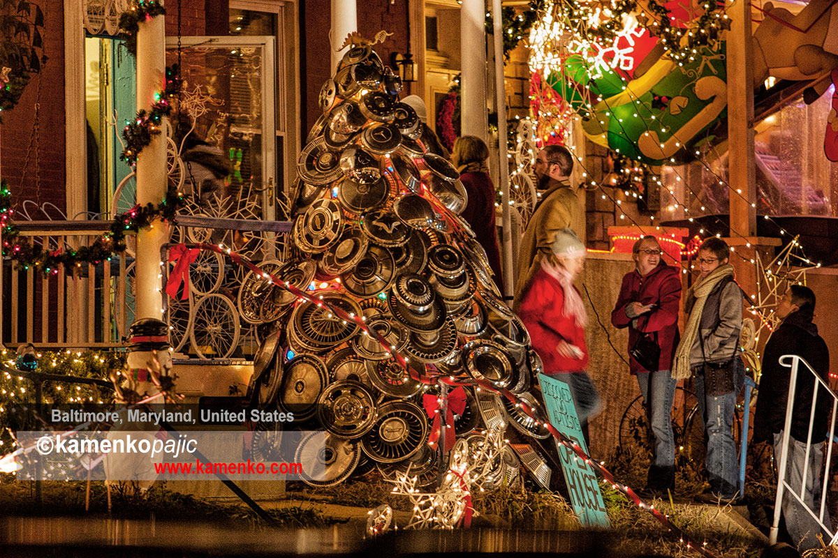 A Christmas Tree built entirely from car hub-cups, designed by artist Jim Pollock