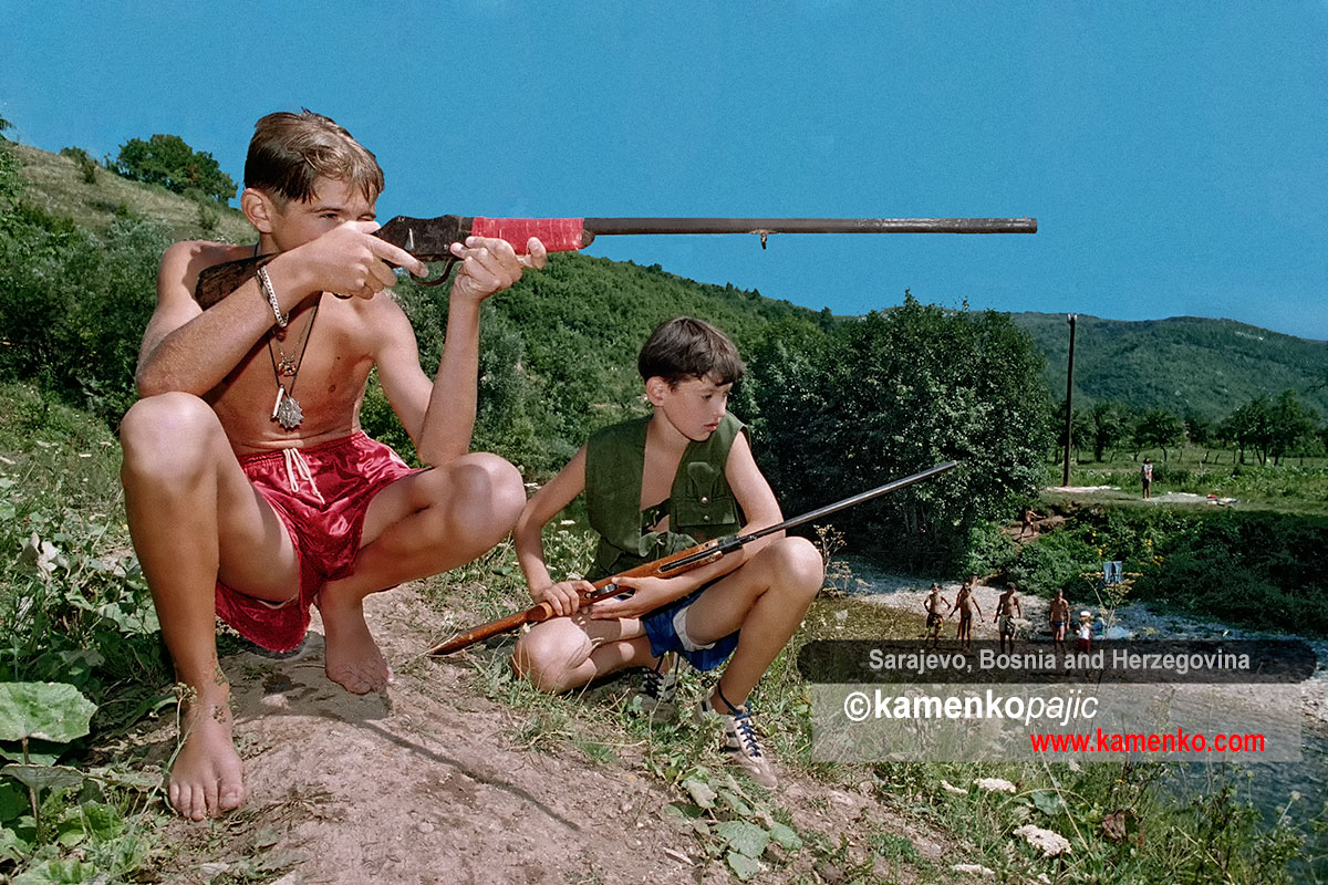 Bosnian Serb children play war games