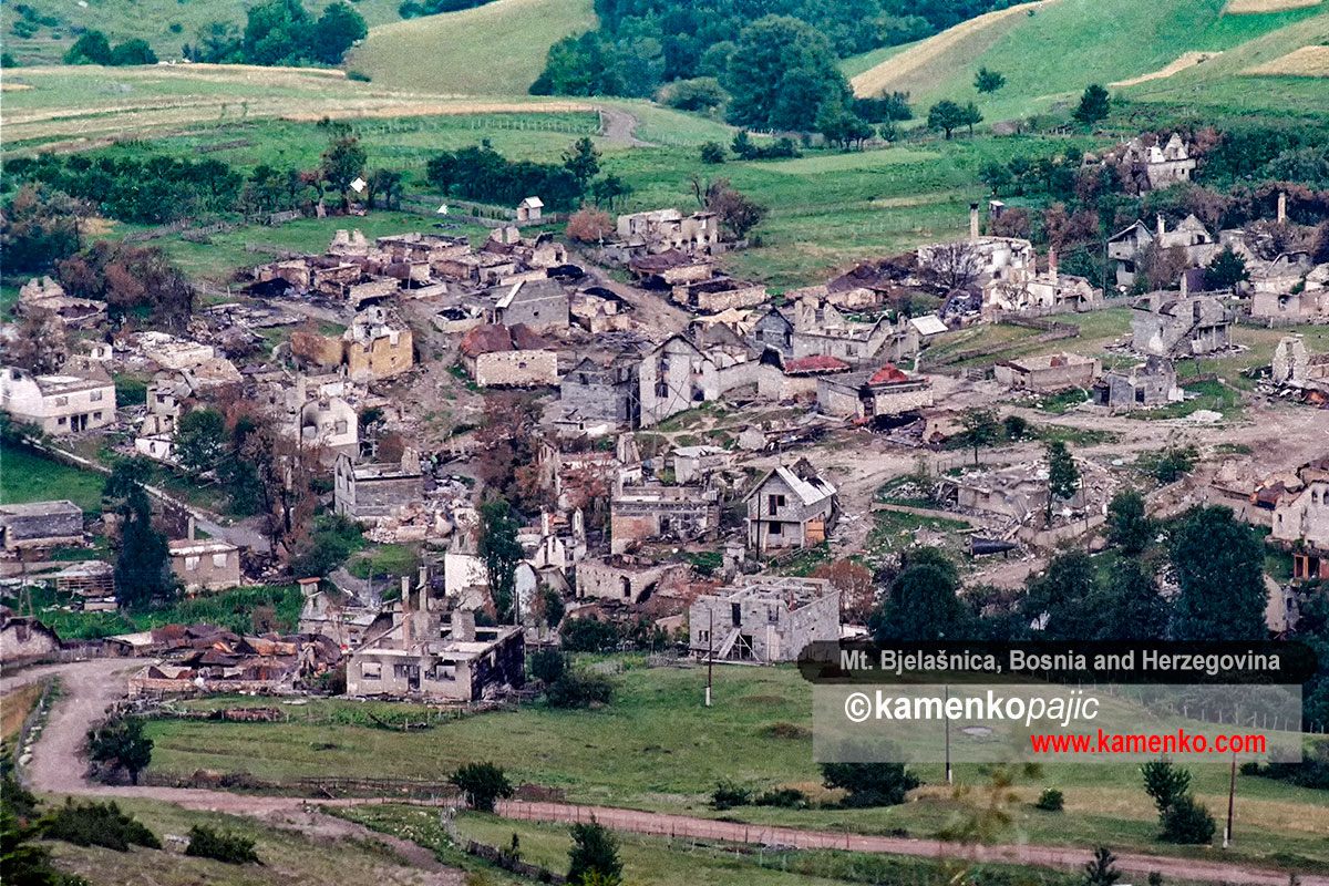 A hillside village obliterated by fighting