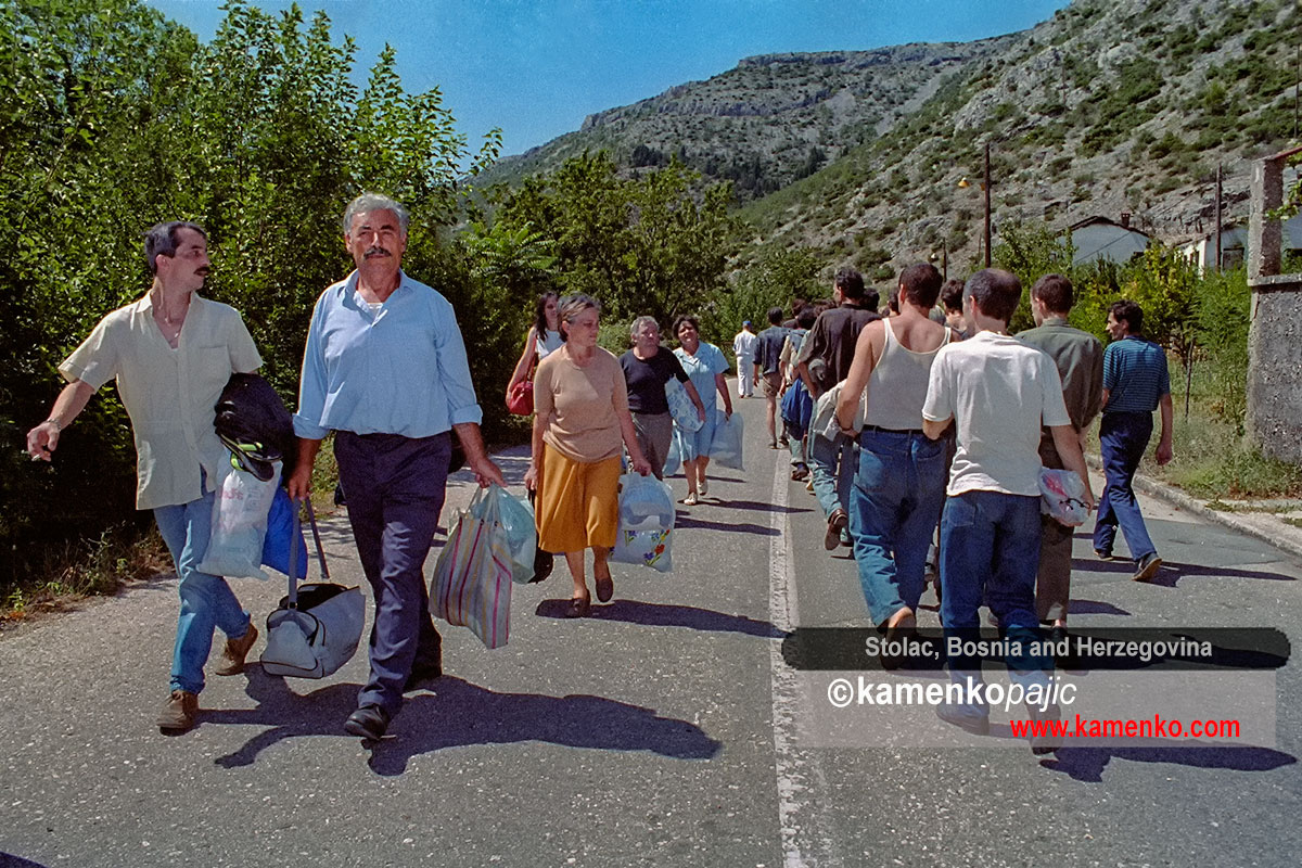 Procession of Serbs from Mostar passes Muslims from eastern Herzegovina during a prisoners exchangh