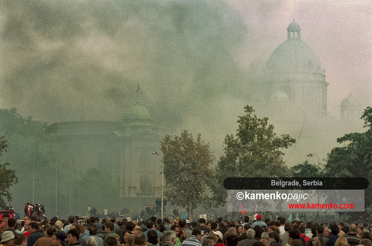 Parliament building engulfed in smoke